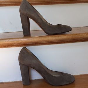 "J. Crew 4"" heel taupe sueded pumps made in Italy"